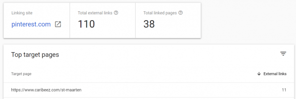 Search console links report